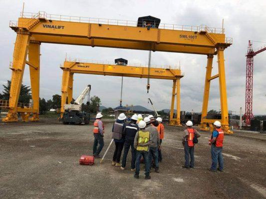 Kiểm định cổng trục 100 tấn